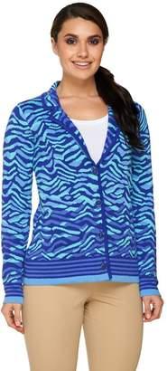 Isaac Mizrahi Live! Animal Jacquard Sweater Blazer