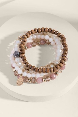 francesca's Stacy Rose Quartz Beaded Bracelet Set - Taupe