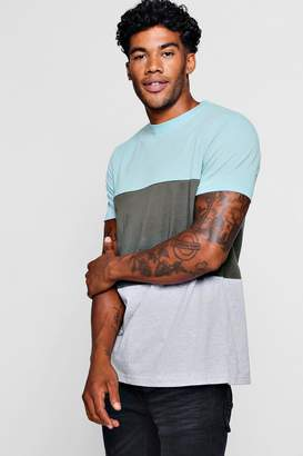 boohoo Crew Neck Colour Block T-Shirt
