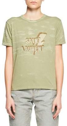Saint Laurent Crewneck Short-Sleeve Distressed T-Shirt w/ Lightning Bolt & Logo