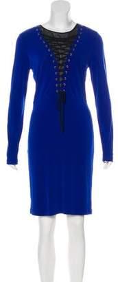 Rachel Zoe Lace-Up Knee-Length Dress