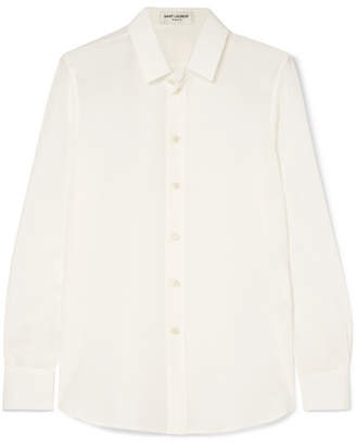 Saint Laurent Silk Crepe De Chine Shirt - White