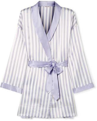 Amanda Fatherazi Morgan Lane Bunny Appliquéd Striped Silk-charmeuse Robe - Lilac