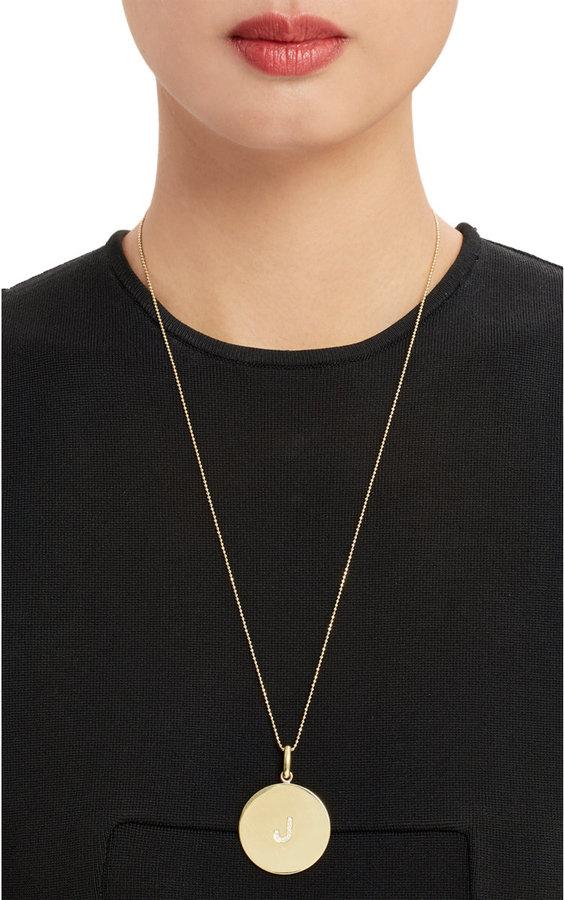"""Jennifer Meyer Oversize Diamond & Gold Initial """"J"""" Pendant Necklace"""