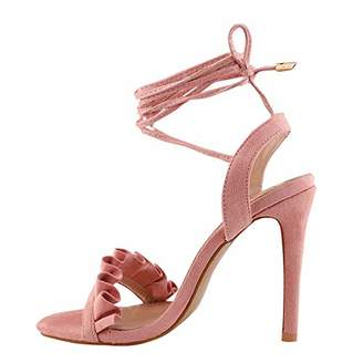 Fingertip Ballet Women Heeled Sandals Open Toe Stiletto Wrap-Around Ankle Strap Lace up Heels Shoes