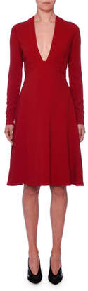 Stella McCartney Deep-V Long-Sleeve Fit-and-Flare Stretch-Cady Dress