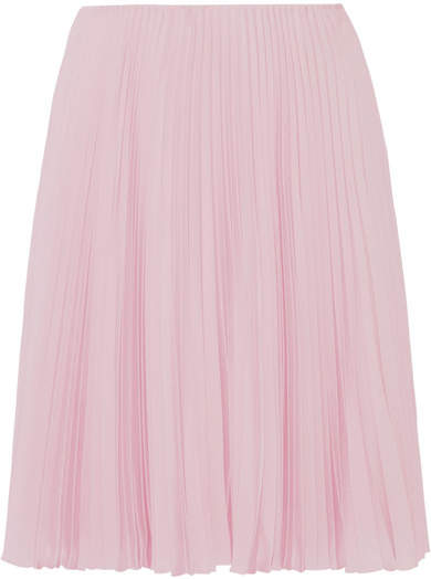 Prada - Pleated Crepe De Chine Skirt - Pastel pink