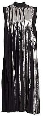 Marni Women's Pleated Metallic Midi Shift Dress