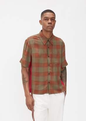 Wales Bonner Viscose Check Short Sleeve Pocket Shirt