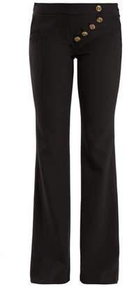 Chloé Mid Rise Flared Cady Trousers - Womens - Black