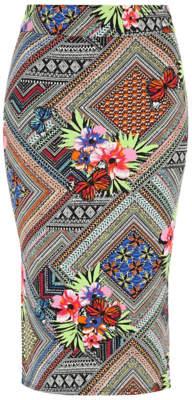 George Tropical Print Midi Skirt
