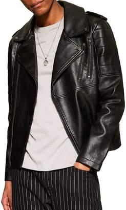 Topman Faux Leather Biker Jacket