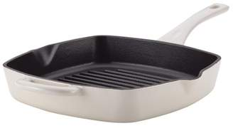 Ayesha Curry Cast Iron Square Grill Pan with Pour Spouts, 10-Inch, French Vanilla