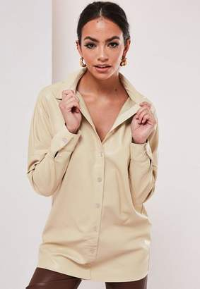 Missguided Cream Faux Leather Oversized Shirt