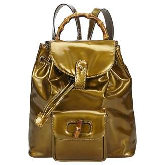 Gucci Vintage Bamboo Gold Patent leather Backpacks