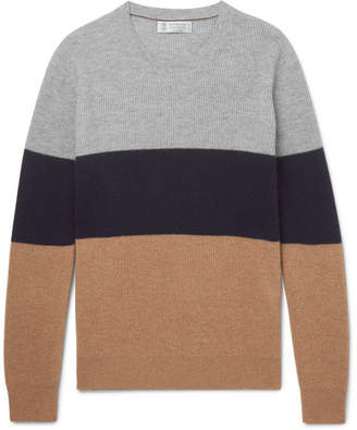 Brunello Cucinelli Slim-Fit Colour-Block Cashmere Sweater