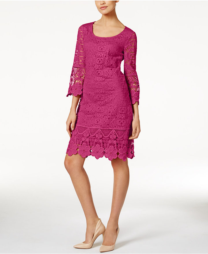 Alfani Crochet-Trim Illusion Dress, Only at Macy's 8
