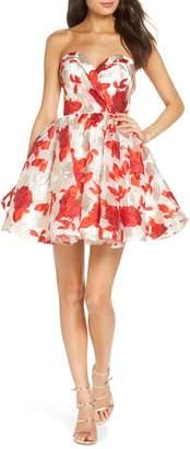 Mac Duggal Strapless Metallic Floral Jacquard Fit & Flare Dress