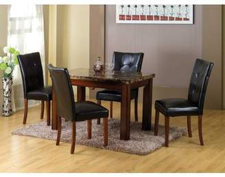Homesource Home Source Sierra Faux Marble Dining Table with Mahogany Legs