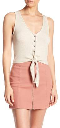 Project Social T Tie Front Ribbed Button Down Tank