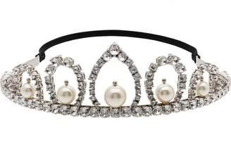 Miu Miu metallic crystal and pearl tiara