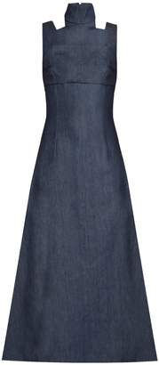 EMILIA WICKSTEAD Mary high-neck denim dress $1,717 thestylecure.com
