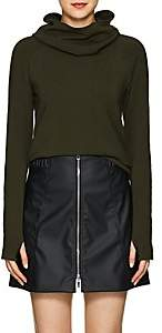 Paco Rabanne Women's Logo Stretch-Jersey Hooded Top - Army