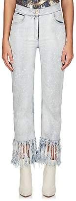Balmain Women's Fringed Crop Straight Jeans