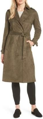 Tahari Mel Faux Suede Trench Coat