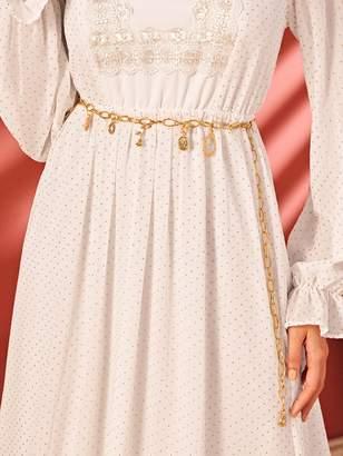 Shein Rhinestone Floral & Circle Charm Chain Waist Belt
