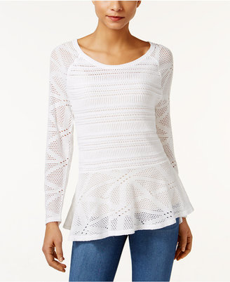 Style & Co. Open-Knit Peplum Sweater, Only at Macy's $54.50 thestylecure.com