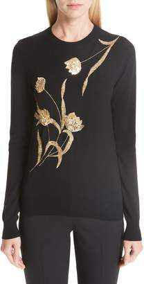 Oscar de la Renta Sequin Embellished Floral Wool Sweater