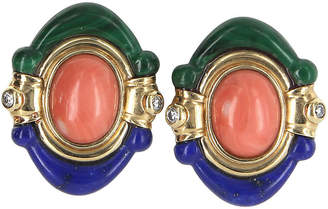 One Kings Lane Vintage Lapis Coral Malachite Diamond Earrings