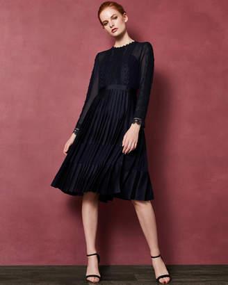 Ted Baker LOOEZ Lace trim pleated midi dress