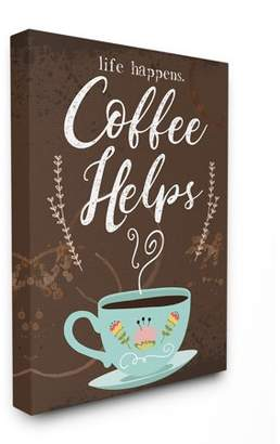 The Stupell Home Decor Collection Life Happens Coffee Helps Cup Chalkboard Look Stretched Canvas Wall Art, 16 x 1.5 x 20