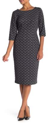 Connected Apparel 3\u002F4 Sleeve Textured Knit Dress