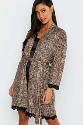 boohoo Leopard Print & Lace Robe