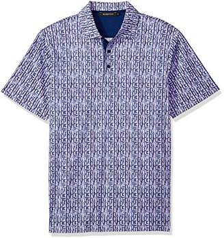 Bugatchi Men's Modern Trim Fit Purple Retro Printed Polo Shirt