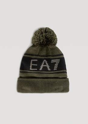 Emporio Armani Knitted Hat With Pompom And Contrast Ea7 Logo