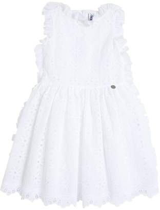 Simonetta Cotton Eyelet Lace & Satin Party Dress