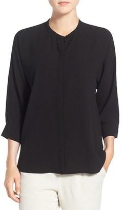 Eileen Fisher Silk Crepe Mandarin Collar Shirt $258 thestylecure.com