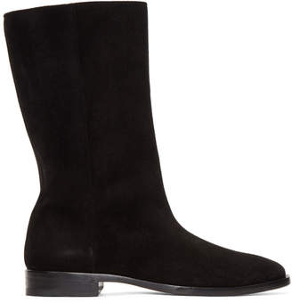 Saint Laurent Black Suede Matt Tall Boots