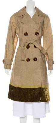 Louis Vuitton Velvet-Trimmed Linen Coat