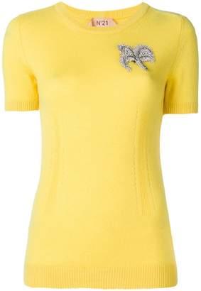 No.21 embellished short-sleeve sweater