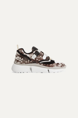 Chloé Sonnie Snake-effect Leather, Mesh, Canvas And Suede Sneakers - Snake print