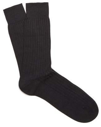 Pantherella Hemingway Wool Blend Socks - Mens - Black