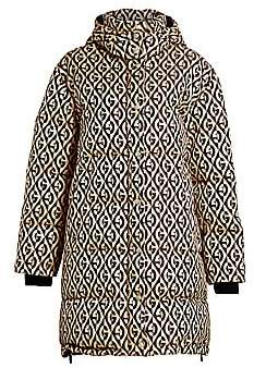 Gucci Women's G-Rhombus Logo-Print Wool & Silk-Blend Puffer Coat