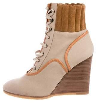 Chloé Canvas Round-Toe Mid-Calf Boots