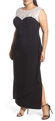 Alex Evenings Embroidered Side Ruched Gown