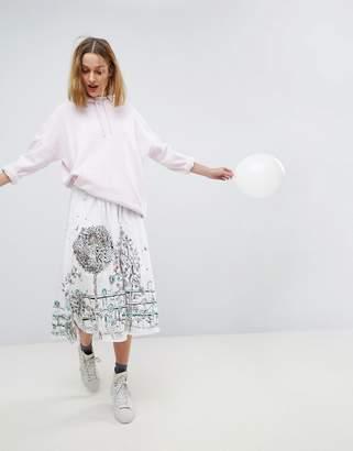 Paul & Joe Sister Graphic Print Midi Skirt